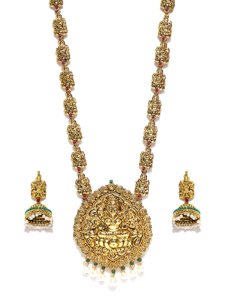 Zaveri Pearls Gold-Toned Temple Jewellery Set