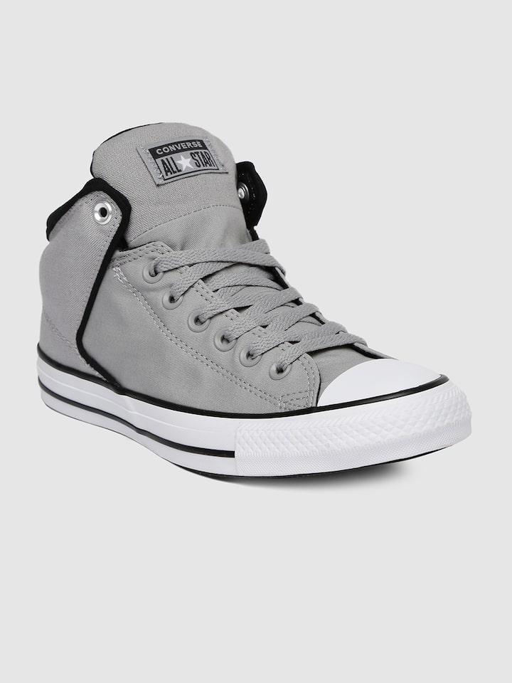 Buy Converse Unisex Grey Solid Mid Top