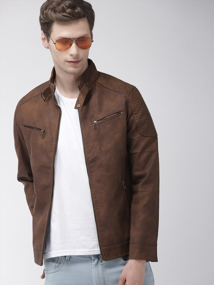 Buy The Indian Garage Co Men Brown Solid Biker Jacket Jackets For Men 10484048 Myntra