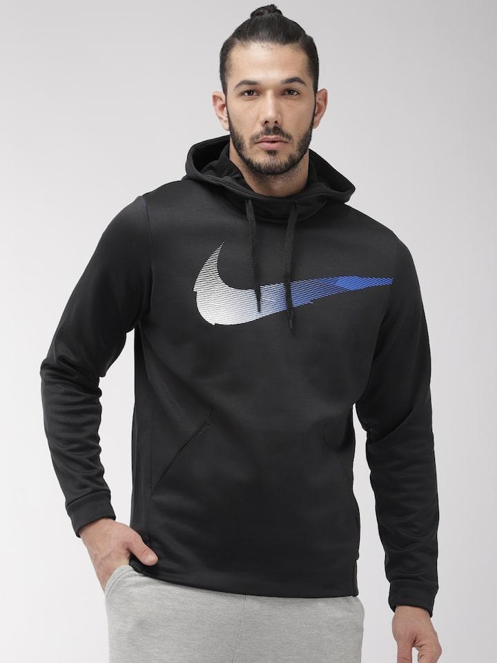 Nike Men Black Graphic Printed Hooded