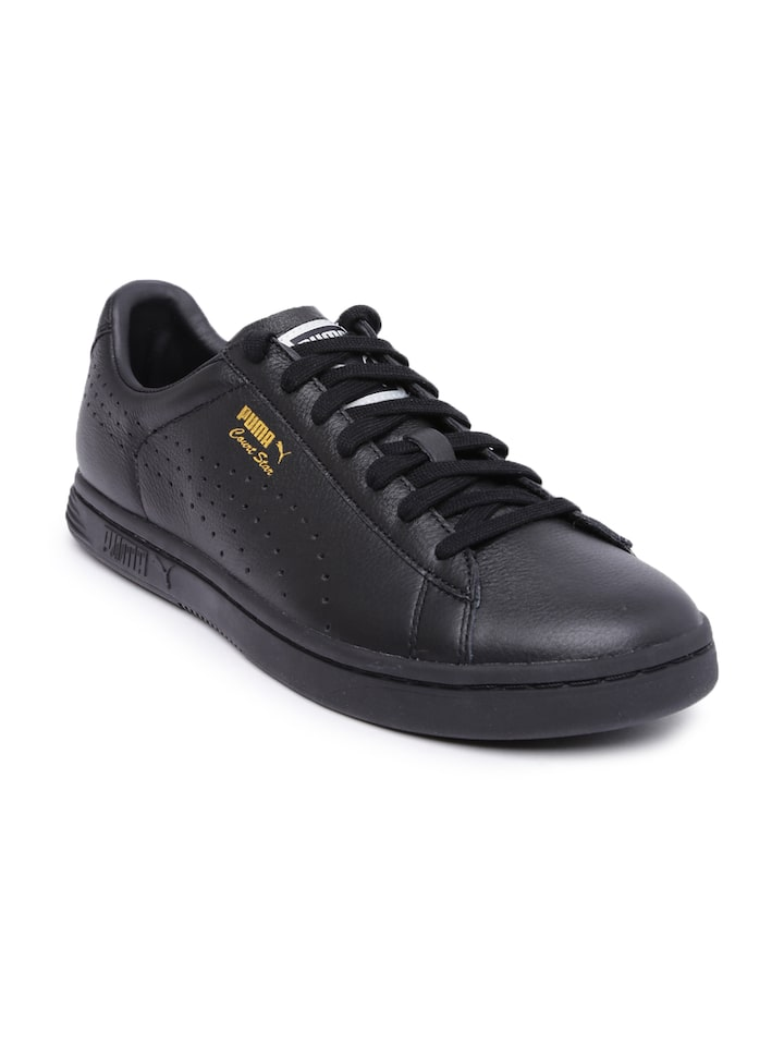 PUMA Unisex Black Leather Court Star Sneakers