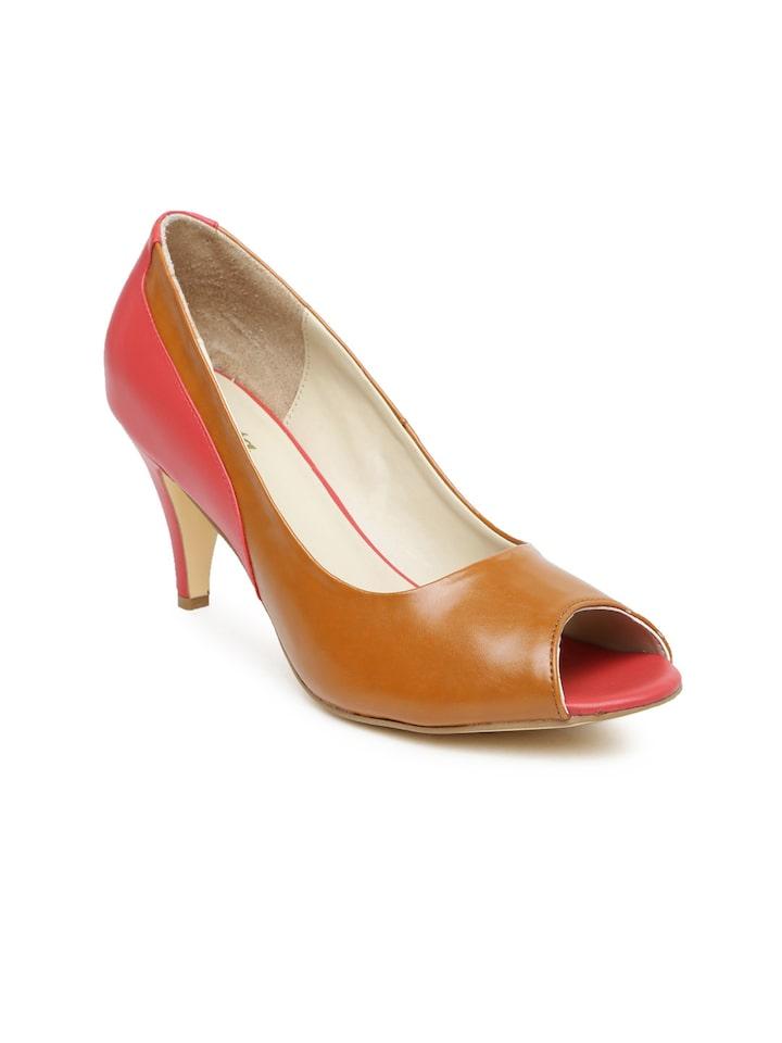 Colourblocked Peep Toes - Heels