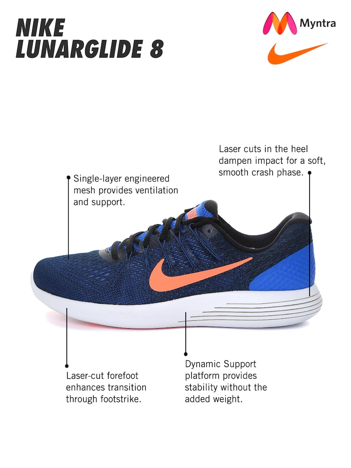 juicio comprar terremoto  Buy Nike Men Blue LUNARGLIDE 8 Running Shoes - Sports Shoes for Men 1547932  | Myntra