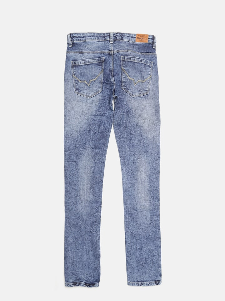 Pepe Jeans Boys Blue Cashed Slim Fit Mid Rise Clean Look Jeans
