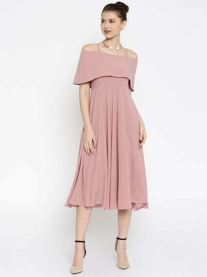 Buy Sassafras Women Pink Fit Flare Off Shoulder Midi Dress Dresses For Women 1774649 Myntra Blonde young woman doing shoulder stand at home during quarantine. sassafras women pink fit flare off shoulder midi dress