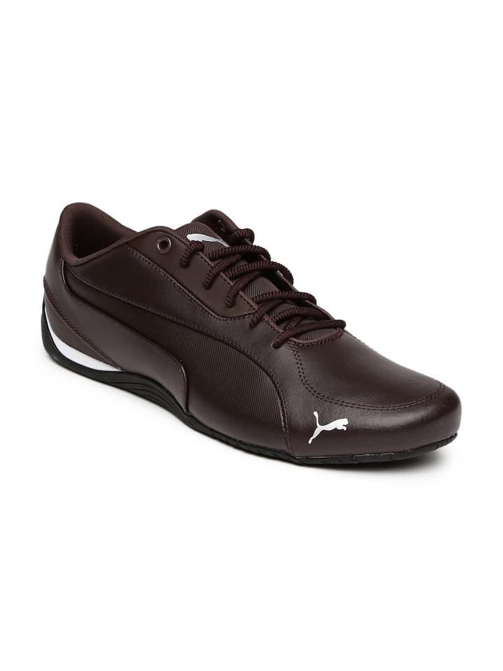 Puma Men Coffee Brown Drift Cat 5 Core Leather Sneakers
