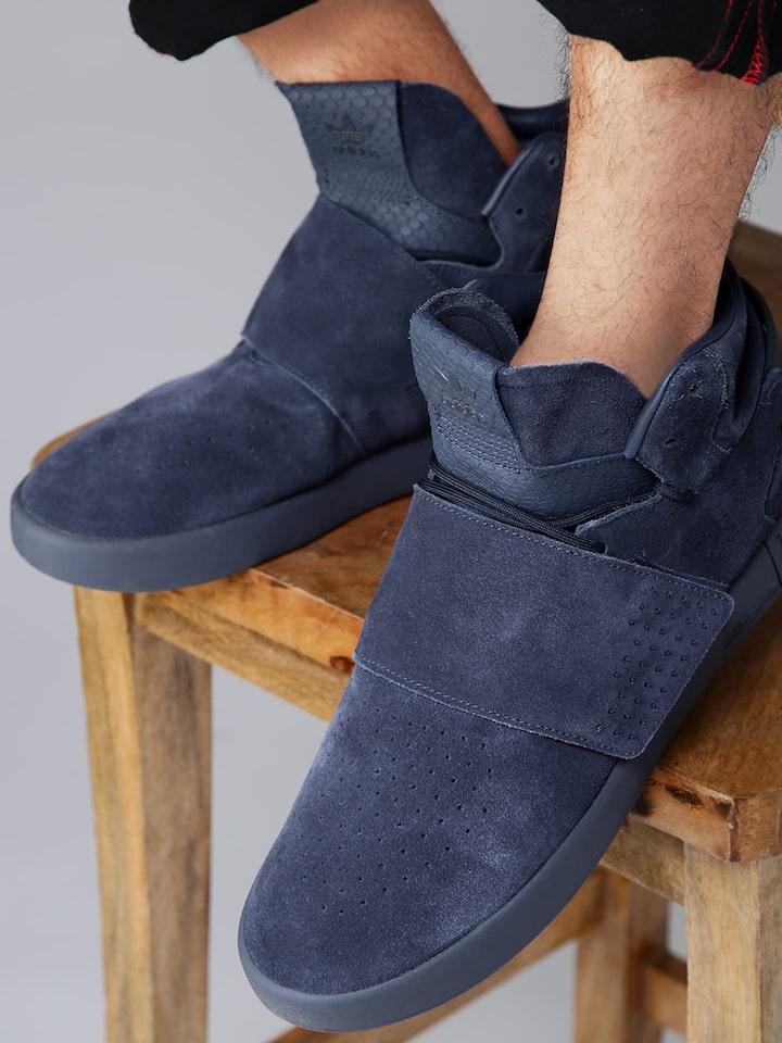 Prescripción matraz Velas  Buy Adidas Originals Men Purple Tubular Invader Strap Mid Top Leather  Sneakers - Casual Shoes for Men | Myntra