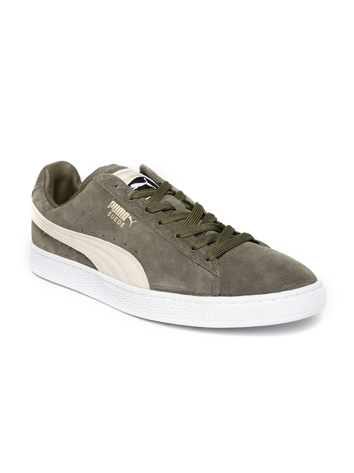 Puma Men Olive Green Suede Classic + Sneakers