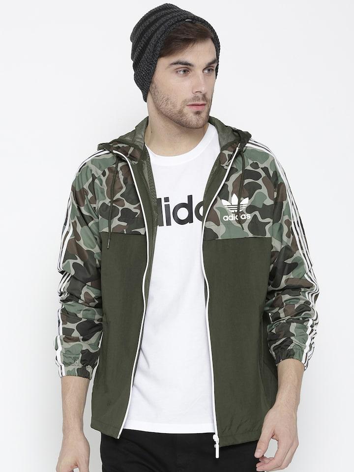 ADIDAS Originals Men Olive Green Reversible WindBreaker Camouflage Print Hooded Sporty Jacket