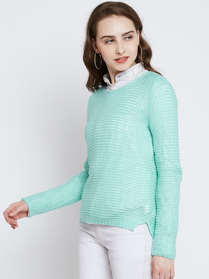 RARE Women Sea Green Self Design Pullover