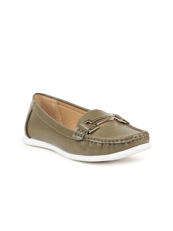 Buy CERIZ Women Olive Green Loafers