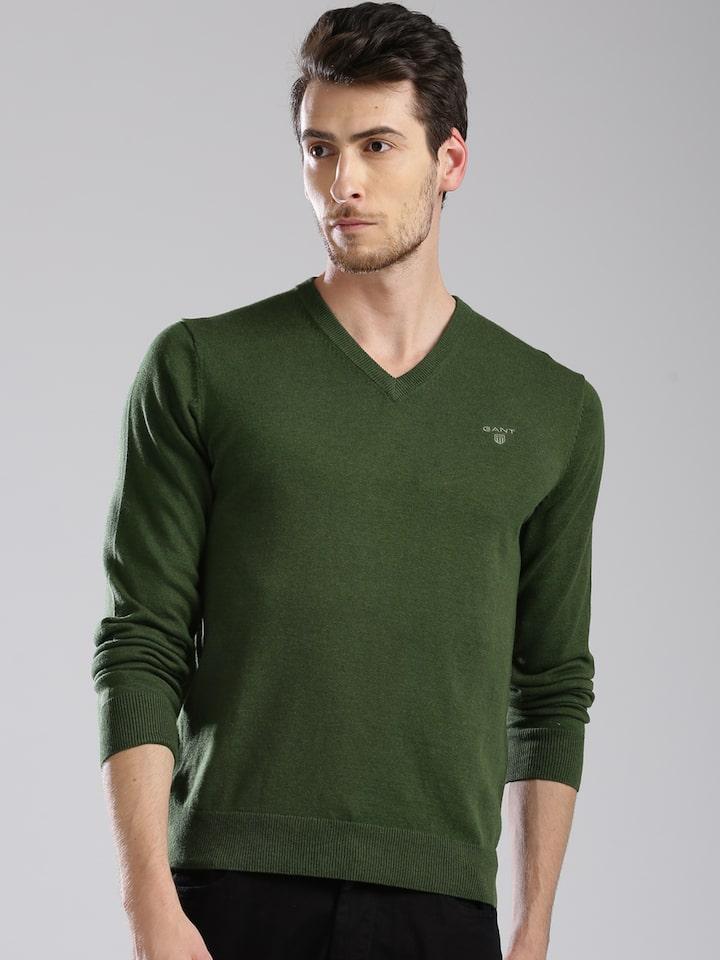 GANT Men Green Solid Pullover