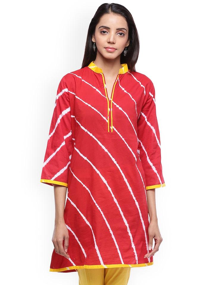 Printed Lehariya Cotton Kurti In Red Colour