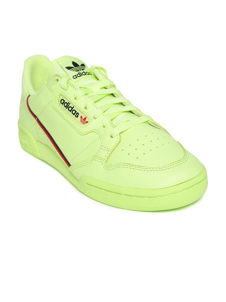 roto distorsión sutil  Buy Adidas Originals Fluorescent Green Continental 80 Leather Sneakers -  Casual Shoes for Men 6842515 | Myntra