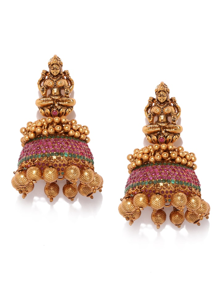 Buy Kushal S Fashion Jewellery Gold Toned Maroon Antique Style