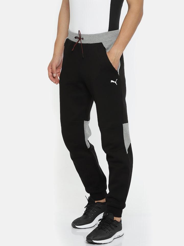 Buy Puma Motorsport Men Black Grey Colourblocked Scuderia Ferrari Sweat Pants Cc Track Pants For Men 7033406 Myntra