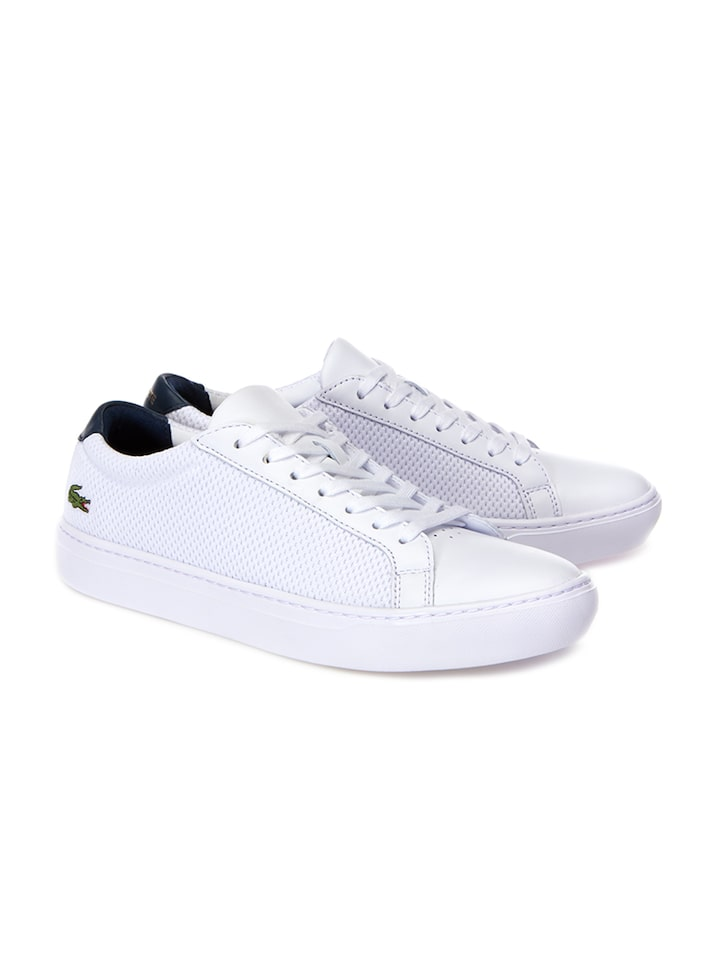Buy Lacoste Men White Leather Sneakers