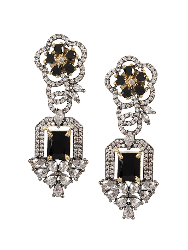 Adwitiya 24k gold plated white CZ and crystal designed Earring