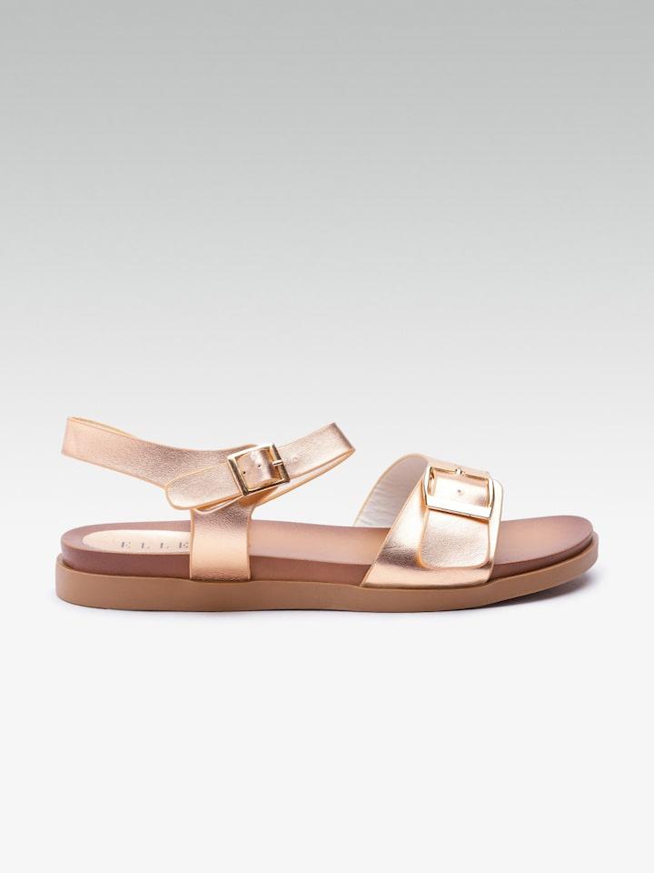 rose gold open toe flats