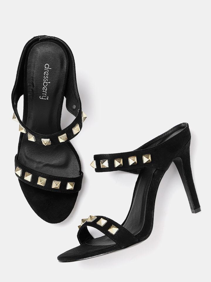 Buy DressBerry Women Black Solid Heels