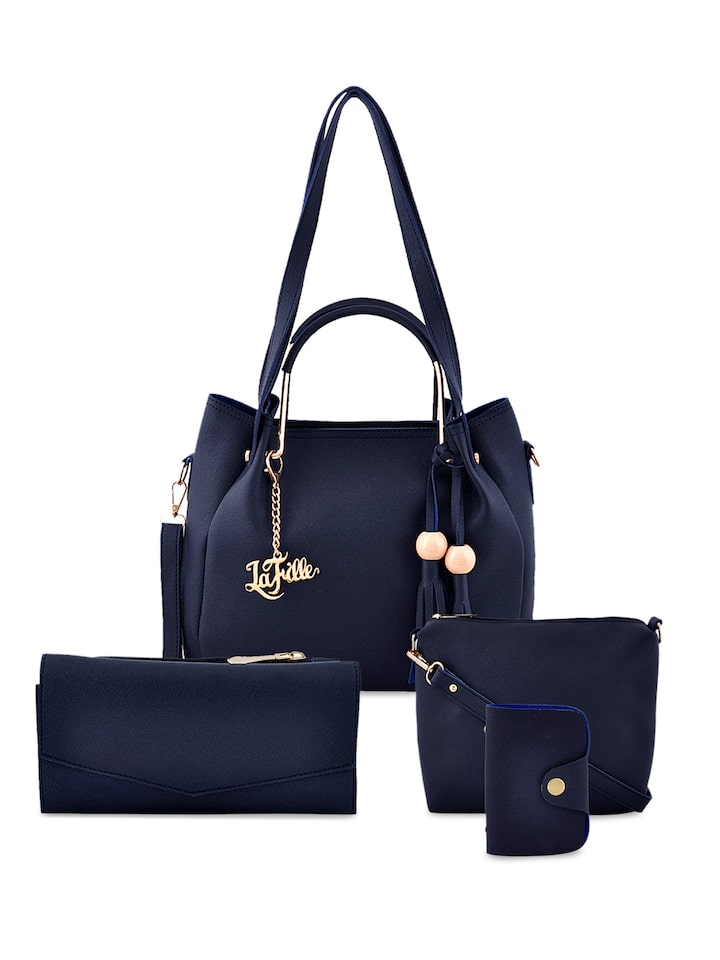 Lafille Pack Of 4 Navy Blue Solid