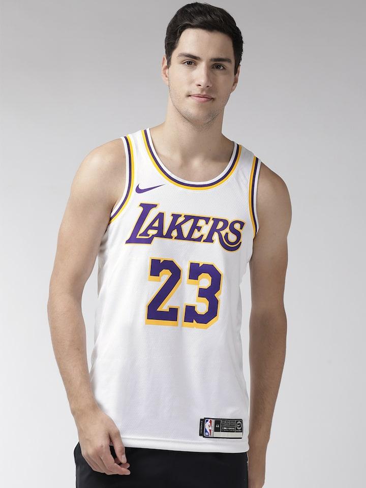 Nike Men White Los Angeles Lakers LeBron James SWGMN Basketball Jersey