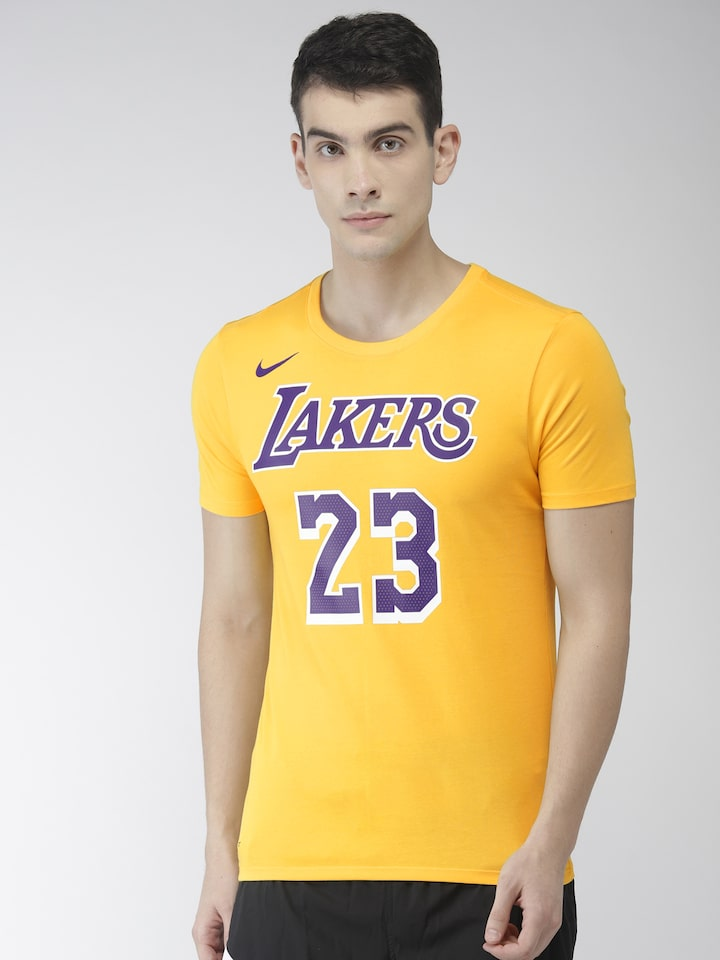 buy popular 600ac f03d7 Nike Men Yellow Los Angeles Lakers LeBron James AS LAL Dri-FIT Basketball  T-shirt