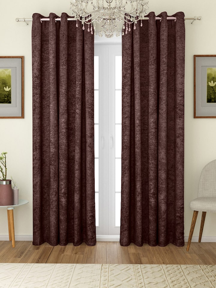 Romee Coffee Brown Set Of 2 Solid, Black And Brown Curtains