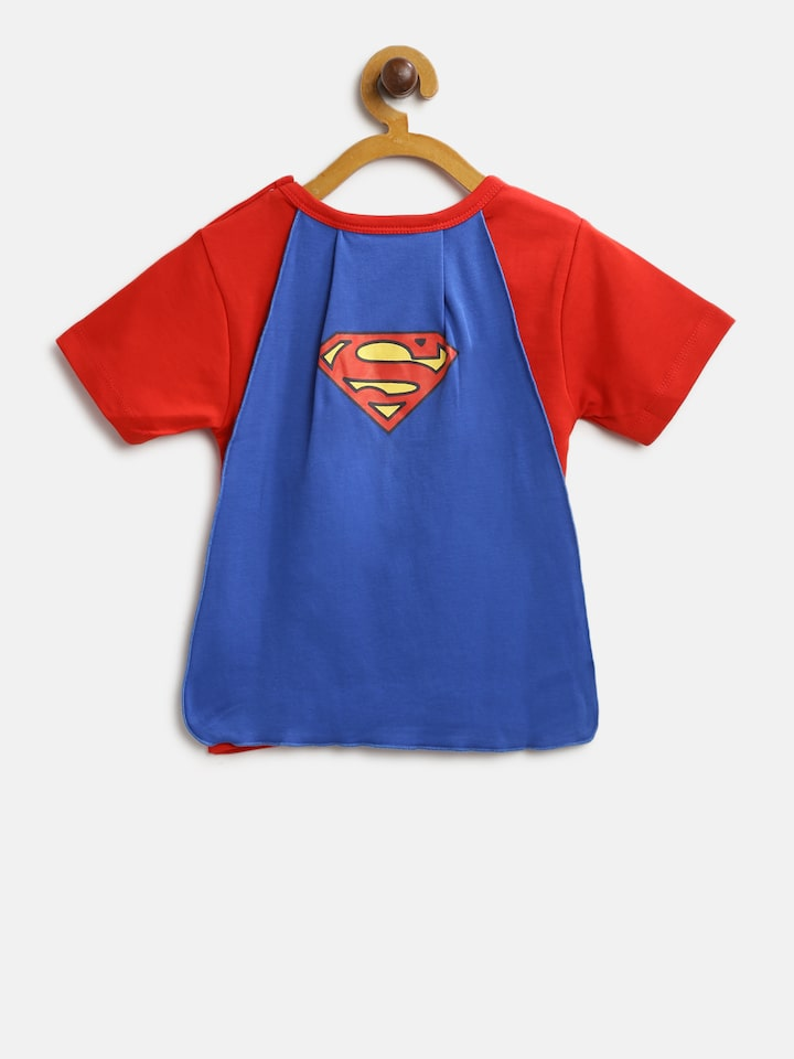 Buy Moms Love Boys Red Superman Print Round Neck T Shirt With Attached Cape Tshirts For Boys 9408327 Myntra