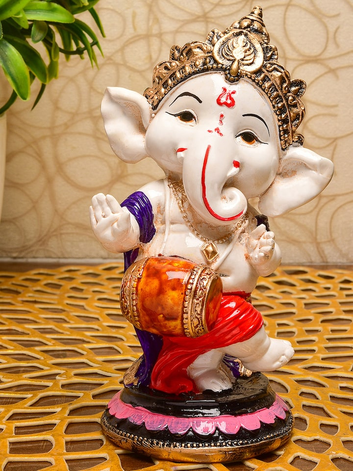 Buy Karigari Red White Marble Lord Ganesh Idol Handcrafted