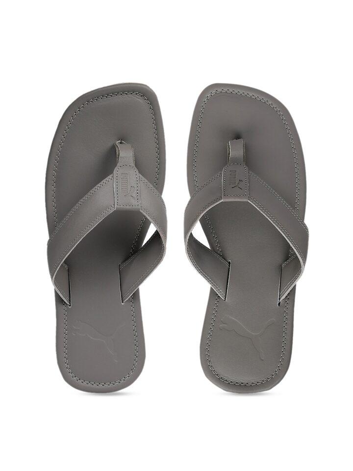 Buy Puma Men Grey Solid Thong Flip