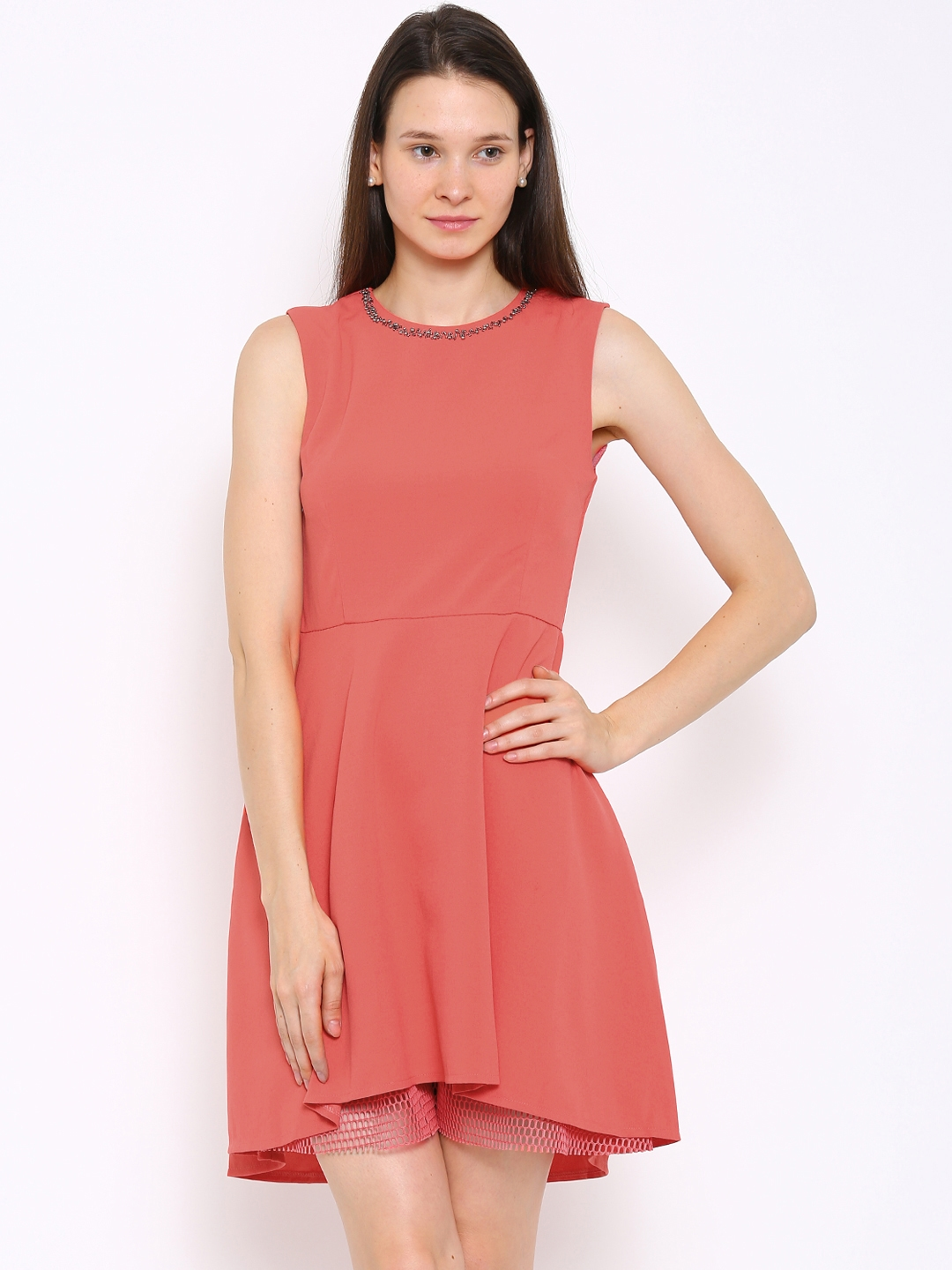 Dress For Solid Buy Dresses Pink Low Deal Jeans High Coral Women OXkw8nP0