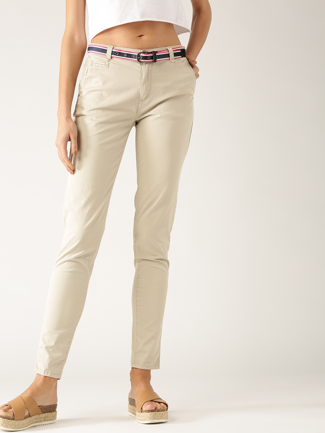 Esprit Beige Buy Trousers Women For Solid L1fckj With Belt Chinos T1JcKlF