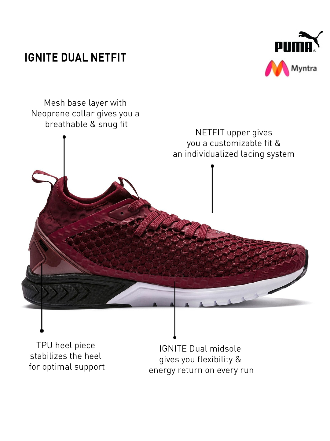 Shoes Ignite Puma Running Buy Men Maroon Sports Netfit Dual wO8Xkn0P