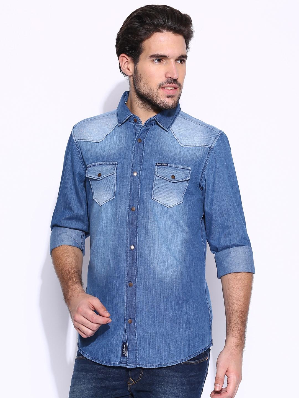 121bd4006d Buy Being Human Clothing Blue Slim Casual Denim Shirt - Shirts for ...