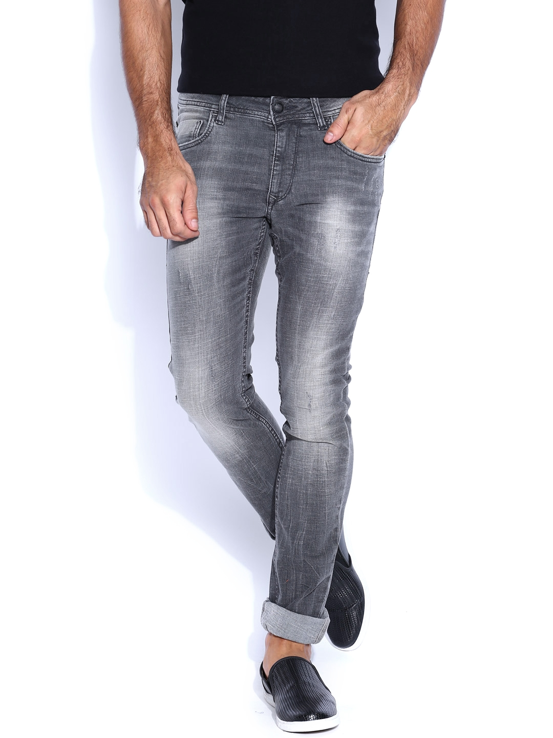7c87cf07 Buy Flying Machine Grey Jackson Skinny Fit Jeans - Jeans for Men ...