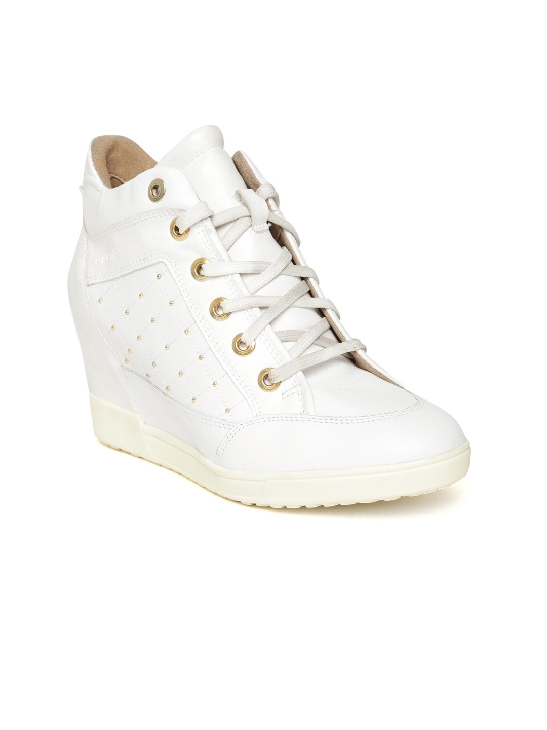 Geox Women White Solid Heeled Sneakers