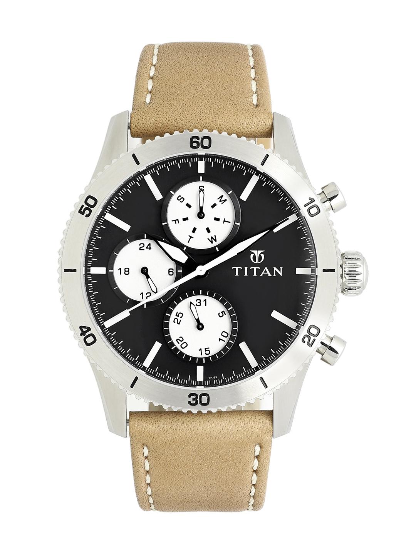 Titan Purple OTS 3 Wells Men Black Analogue watch NL90105KL02