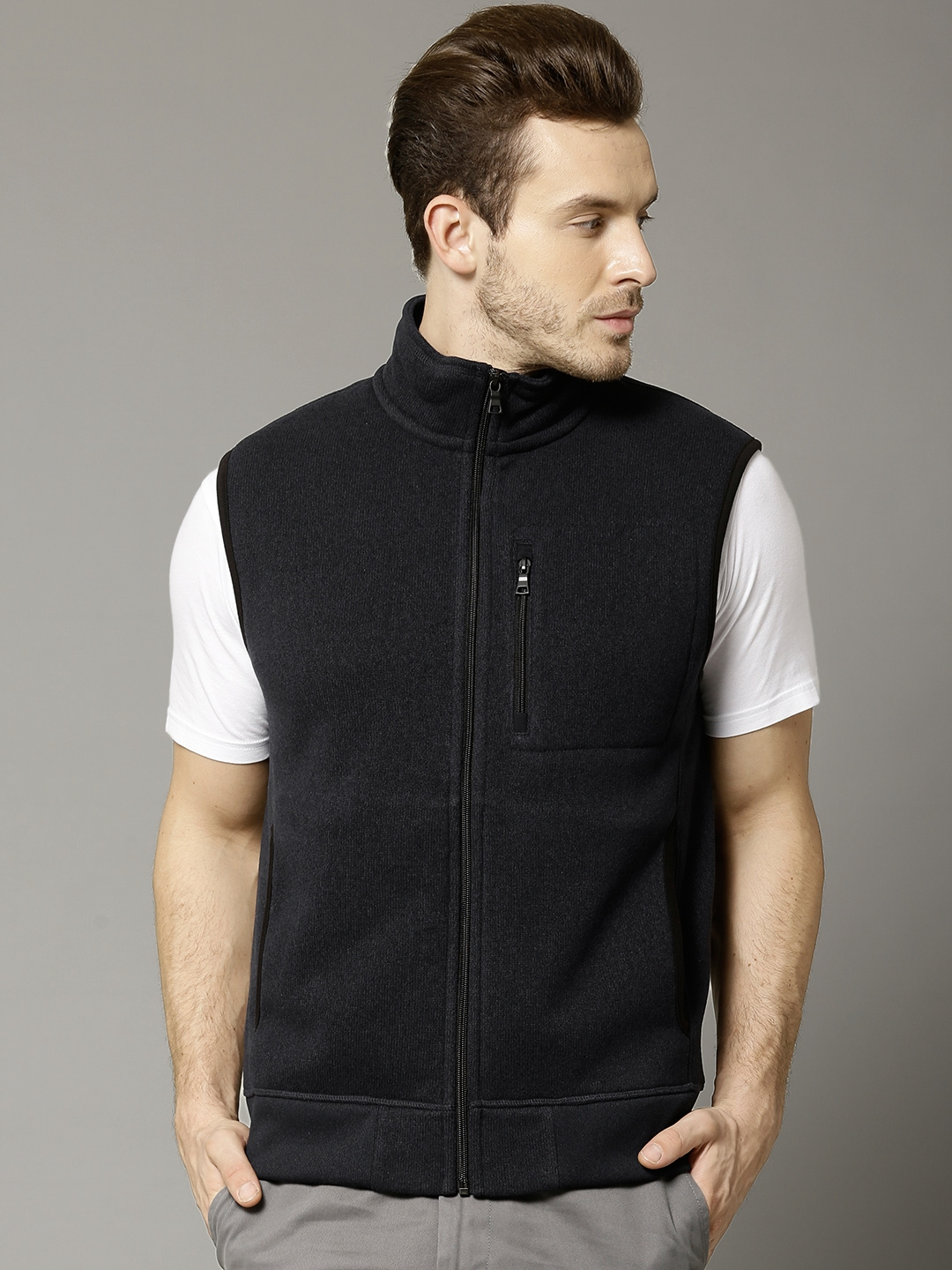 Buy Marks & Spencer Navy Sleeveless Fleece Jacket - Jackets for ...