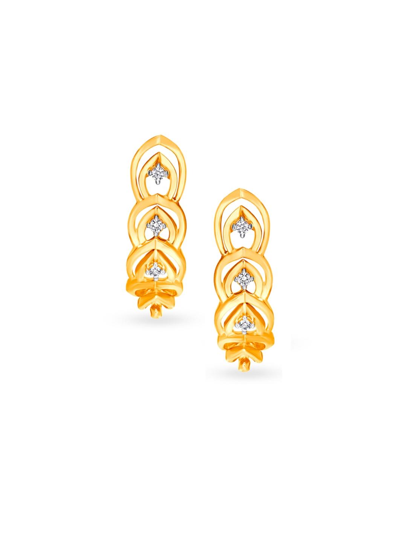 Mia by Tanishq 14KT Yellow Gold Diamond Half Hoop Earrings