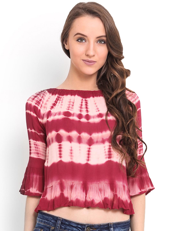 8aab4c573ac53d Buy Trend Arrest Red Tie Dye Crop Top - Tops for Women 1010602