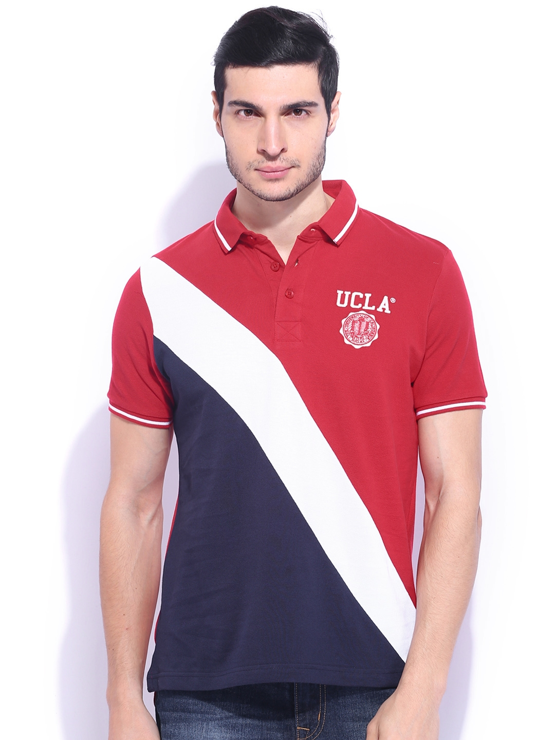 f7c318886e8d Buy UCLA Red & White Polo T Shirt - Tshirts for Men 1011577 | Myntra