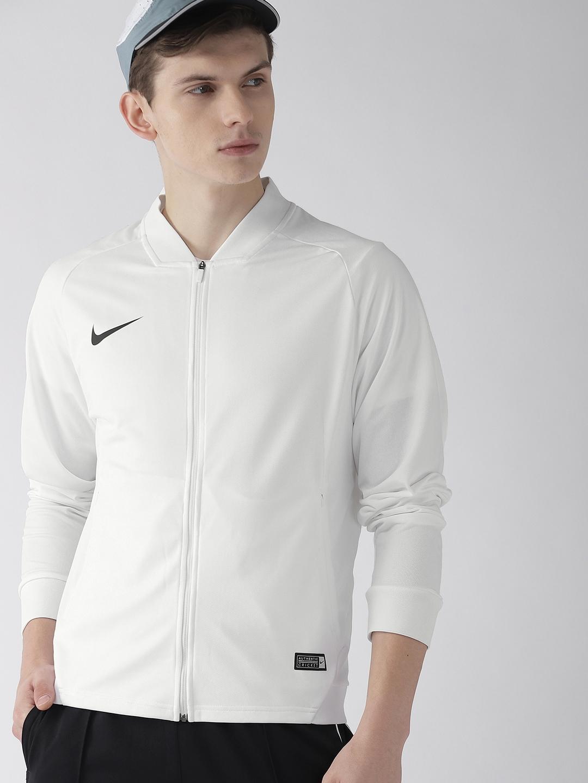 Nike Men White Solid AS TS CRKT K FZ DRY FIT Sporty Jacket Nike Jackets