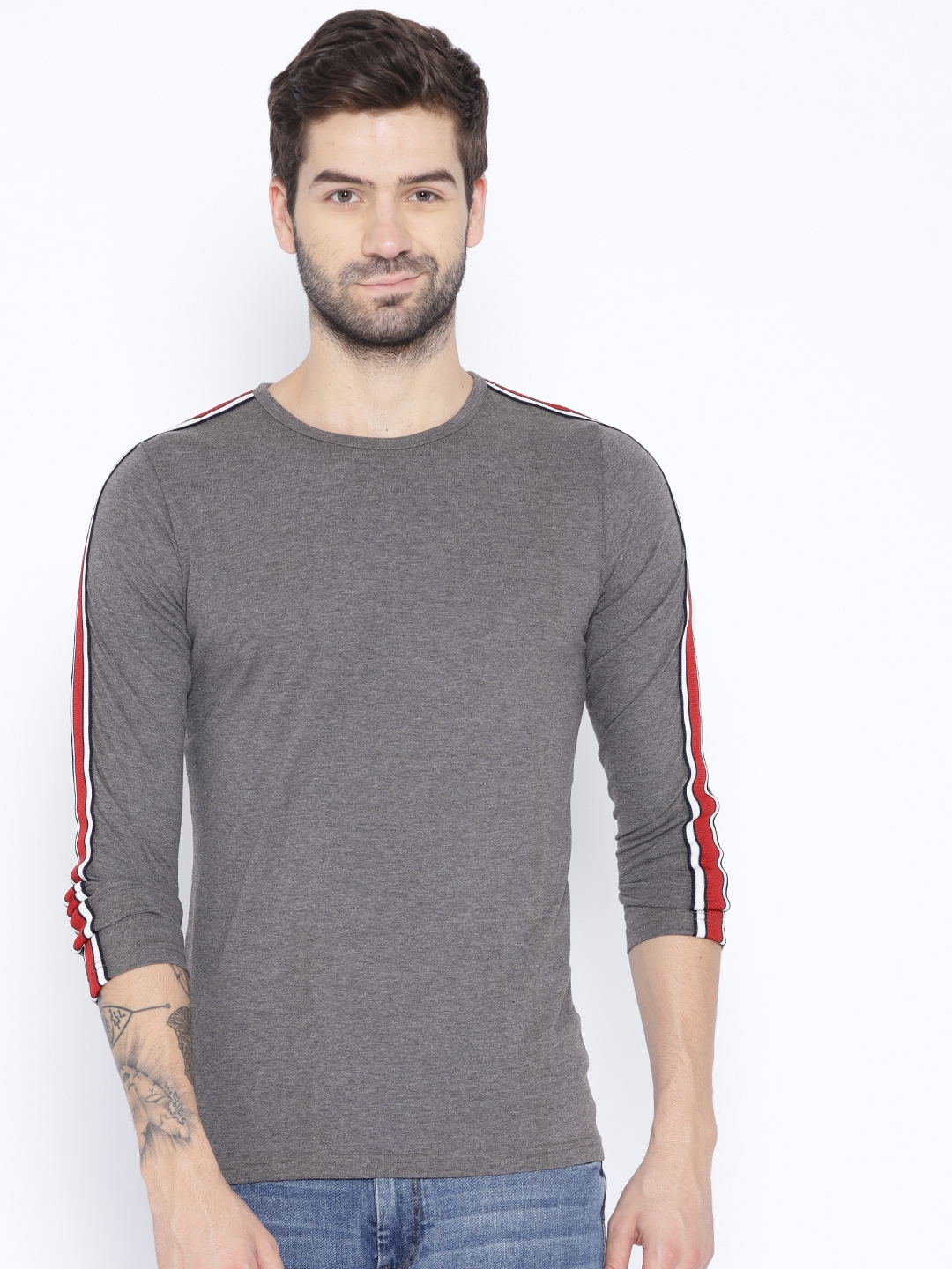 Unisopent Designs Men Charcoal Grey Solid Round Neck T shirt