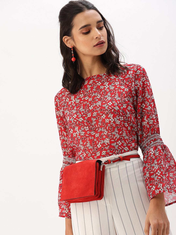 DressBerry Women Red   White Floral Print Regular Top