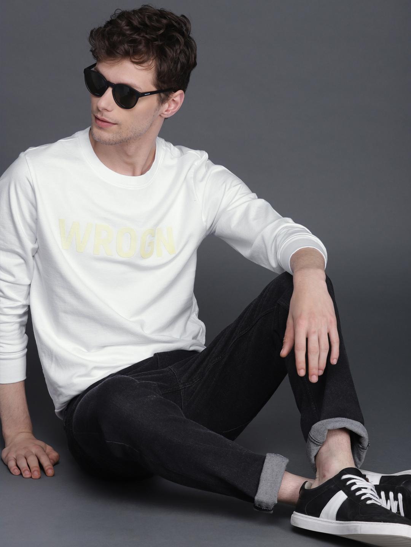 WROGN Men White Printed Slim Fit Sweatshirt