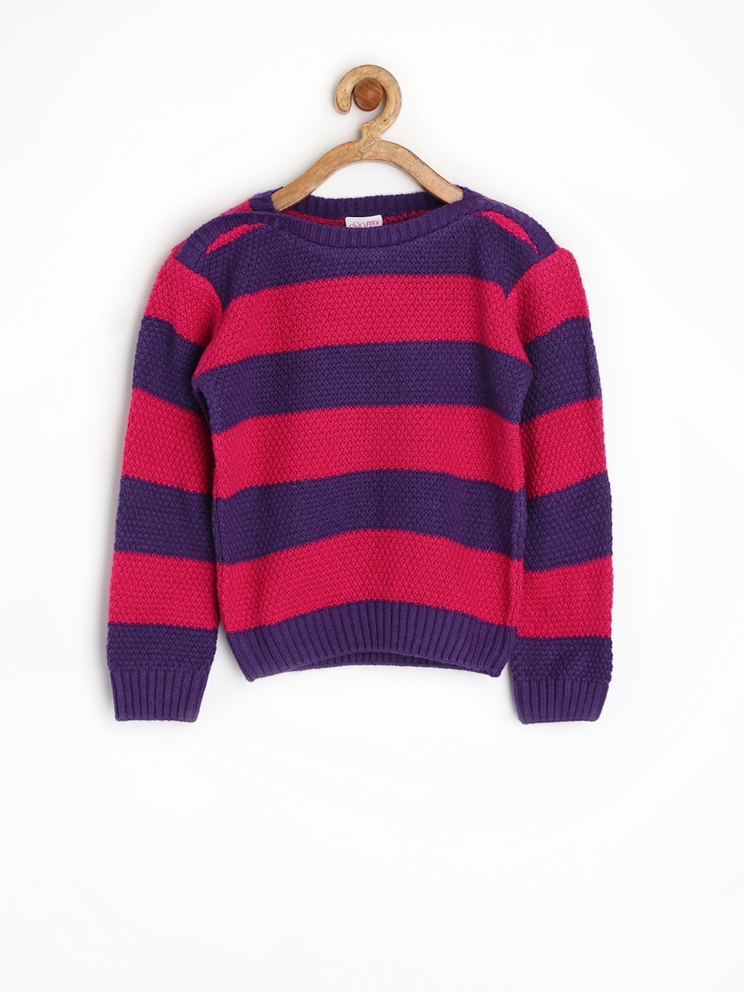 Buy FS Mini Klub Girls Pink & Purple Striped Sweater - Sweaters ...