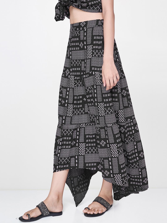 Global Desi Women Black   Pink Printed A Line Skirt