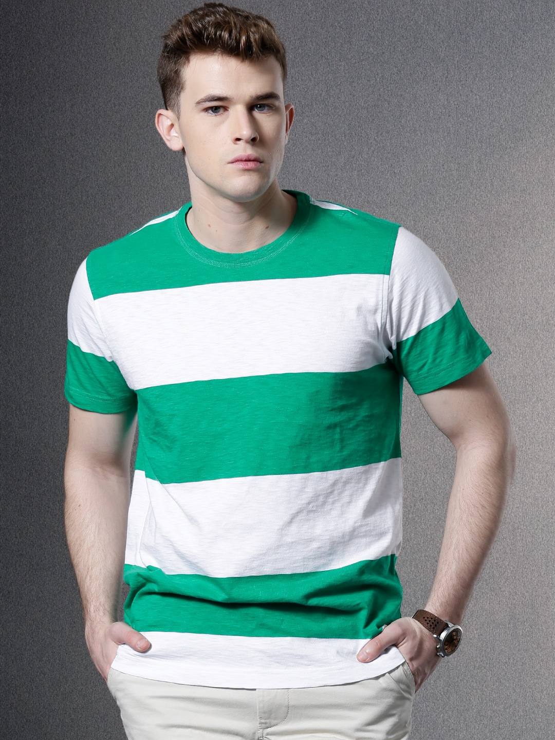 96235344c95f1a Buy Brooks Brothers Green   White Striped T Shirt - Tshirts for Men ...