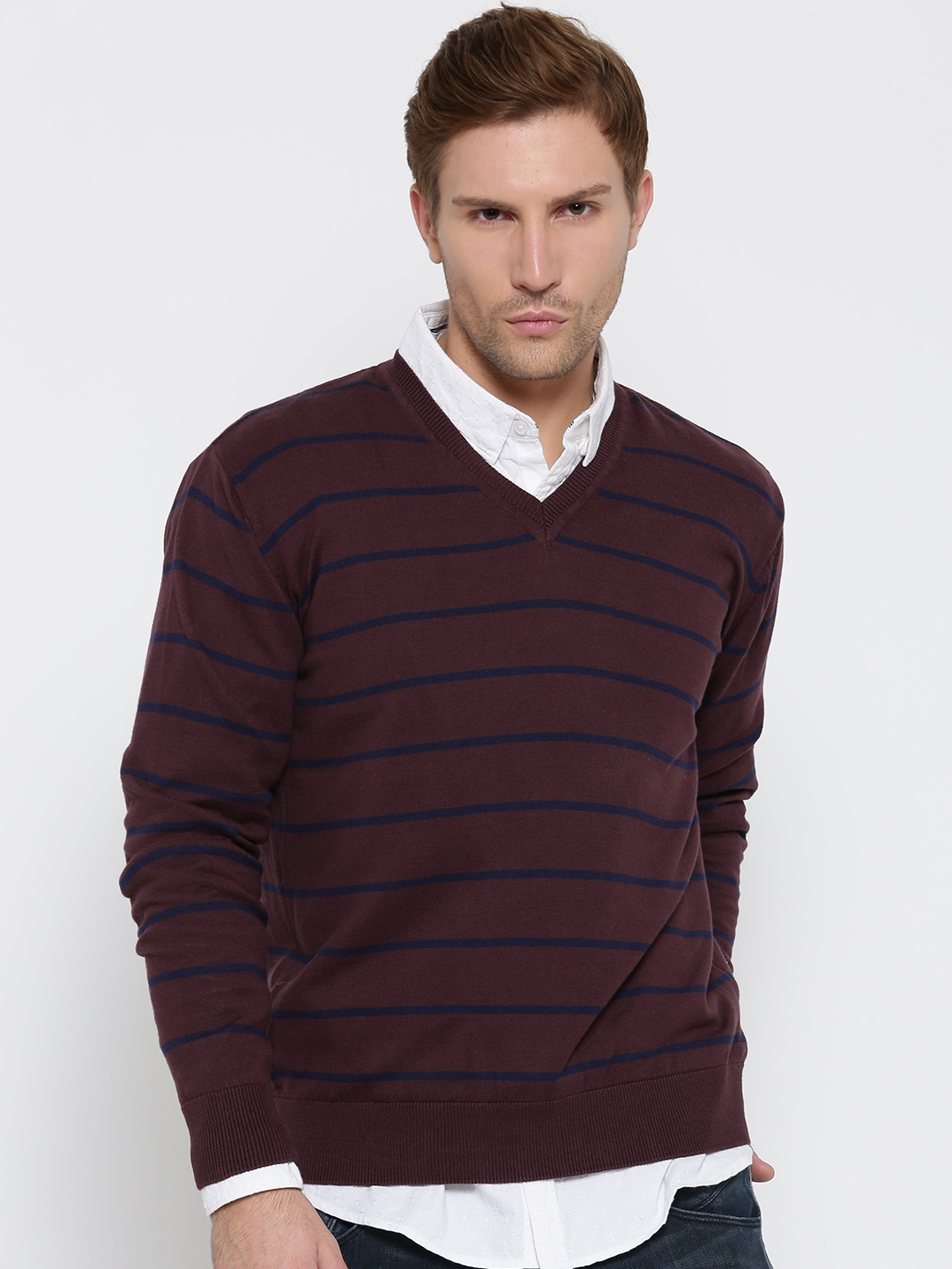 Buy Locomotive Burgundy Striped Sweater - Sweaters for Men | Myntra